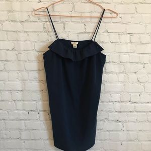 J. Crew Factory Ruffle Tank Top Navy Blue